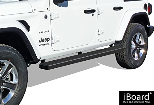APS iBoard Running Boards (Nerf Bars | Side Steps | Step Bars) for 2018-2020 Jeep Wrangler JL Sport Utility 4-Door | (Black Powder Coated 5 inches)