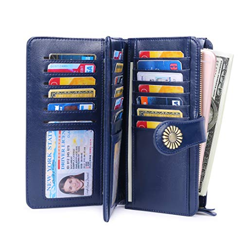 Wallet for Women Large Capacity RFID Blocking Real Leather Purse Clutch Checkbook (Women Wallet Large Capacity Dark Blue)