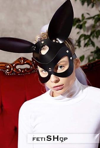 Amazon Com Bunny Mask Woman Leather Mask Bunny Cosplay Bunny Face Mask Halloween Masquerade Mask Of Bunny Handmade