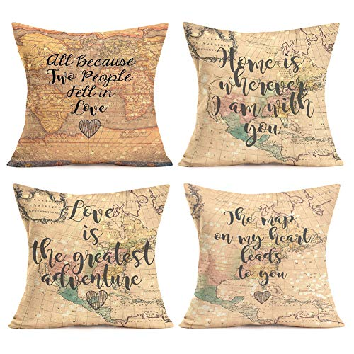 Easternproject Valentine's Day Decor Pillow Covers Cotton Linen Home Sofa Decorative Map Quotes Throw Pillow Case Cushion Cover 18''x18'' Set of 4,Sweet Heart,Warm Love Lettering (4 Pack Map Quotes)