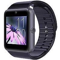 CNPGD Bluetooth Smart Watch (Compatibilidad parcial para IOS IPHONE) + (Compatibilidad total para teléfonos inteligentes con Android) Samsung, LG, Galaxy Note, Nexus, Sony + Reloj desbloqueado Teléfono celular + Rastreador de ejercicios Cámara podómetro