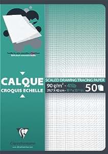 Clairefontaine 97132C - Papel de calco transparente para dibujo técnico (50 folios)