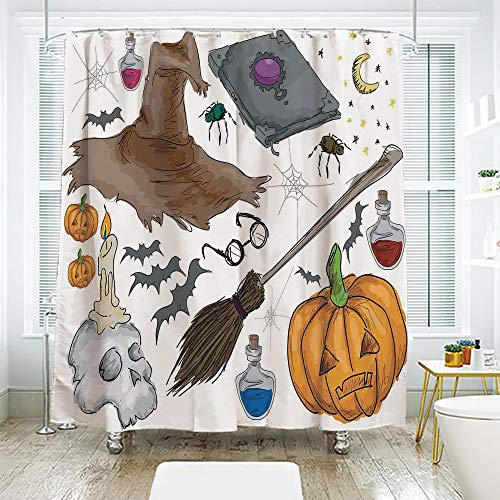 scocici DIY Bathroom Curtain Personality Privacy Convenience,Halloween Decorations,Magic