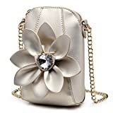 SUNROLAN Girl's Crossbody bag With 3D Flower Pu Leather Small Wallet Purse Satchel for Womens