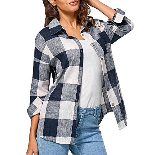JSPOYOU Womens Long Sleeve Tops Plaid Shirt Cotton Linen Top Check Plaid Casual Loose Shirts T Shirt Blouse (US-8/CN-L, (White Linen Tester)