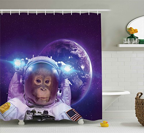 Space Decor Shower Curtain by Ambesonne, Astronaut Monkey on Outer Space with Planet Earth Background Humor Image, Fabric Bathroom Decor Set with Hooks, 70 Inches, Violet White