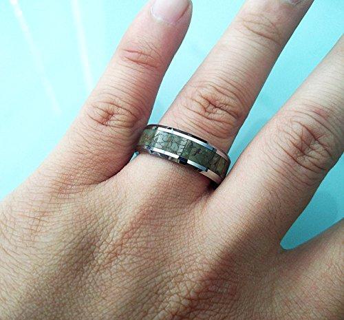 Mens Light Green & Gray Agate Dinosaur Bone Inlay Tungsten Wedding Ring - 8mm - Lifetime Sizing Warranty