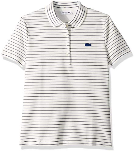 Lacoste Women's Short Sleeve Slim FIT Stretch Striped Polo, Flour/Inkwell, 12