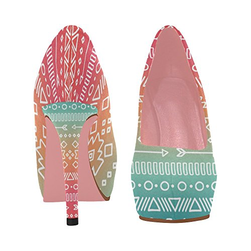 On Size Shoes Prin Color6 Pattern Heel InterestPrint Ethnic 5 Flowers 11 Wedge Colorful Aztec Pumps Womens High OPqp7X
