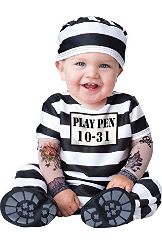 Mememall Fashion Time Out Jail Prisoner Convict Infant/Toddler Costume (Jackie Moon Halloween Costume)