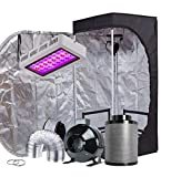 TopoGrow LED Grow Tent Complete Kit LED 300W LED Grow Light Kit +24″X24″X48″ Indoor Grow Tent + 4″ Fan&Filter&Ducting Combo Hydroponics Tent System (LED 300W, 24″X24″X48″+4″)