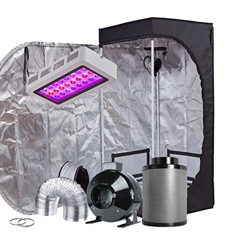 TopoGrow LED Grow Tent Complete Kit LED 300W LED Grow Light Kit +24'X24'X48' Indoor Grow Tent + 4' Fan&Filter&Ducting Combo Hydroponics Tent System (LED 300W, 24'X24'X48'+4')