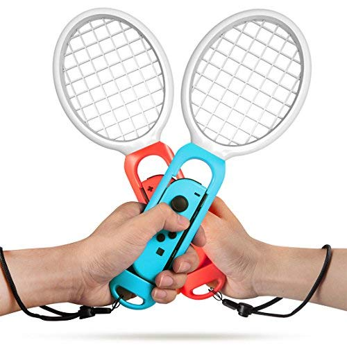 Tennis Racket for Nintendo Switch Joy-Con, Accessories for Mario Tennis Aces Game, Twin Pack Grips for Switch Joy-Con (Blue and Red)
