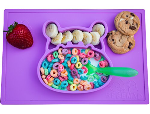 d baby plate tray for infants toddlers and kids - these portable hippo happy mats one piece bowl suctions and fits to most tables highchair non slip baby feeding FDA Approved . (Infant Toddler Baby Plate)