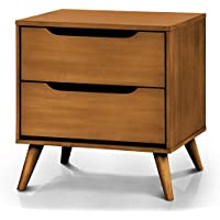 Furniture of America Danafrio 2 Drawer Nightstand Mid-Century Modern - Oak