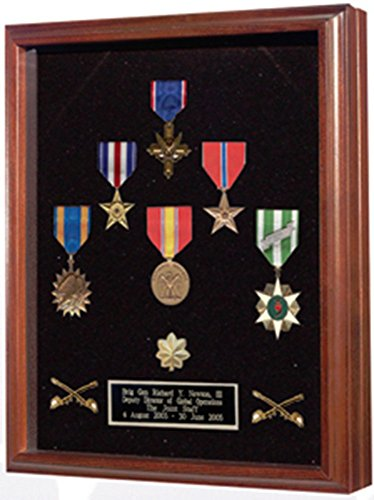 Flag connection Medal Case - Wood shadow box, Shadow box to show all of your med a glass front with hinged lid and magnetic closure