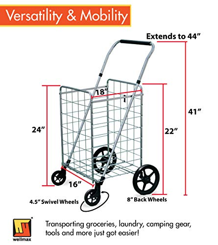 Wellmax Grocery Shopping Cart with Swivel Wheels – Foldable & Collapsible Utility Cart with Adjustable Height Handle – Space Saving Heavy Duty Light Weight Trolley by Wellmax (Image #2)
