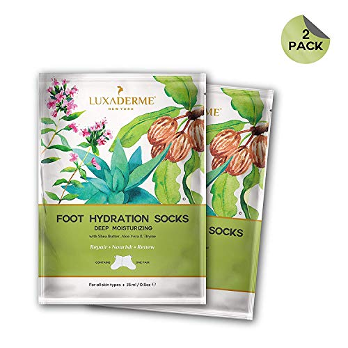 LuxaDerme Deep Moisturizing - Foot Hydration Socks (Pack of 1) Infused with essence containing Shea Butter, Allantoin, Botanical Extracts & Antioxidants for soft, smooth & supple feet