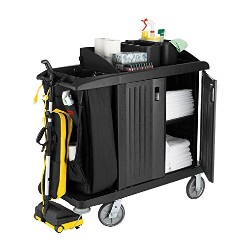 TableTop king 6192 Classic Compact Housekeeping Cart with Doors (FG619200BLA)
