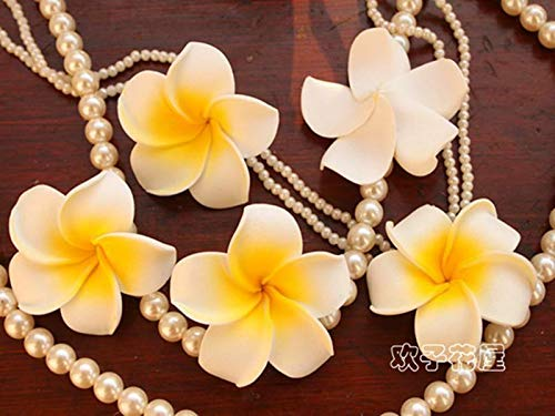 BROSCO 100Pcs Hawaiian Frangipani Foam Plumeria Flower Head Wedding DIY Decor Crafts | Color - Yellow