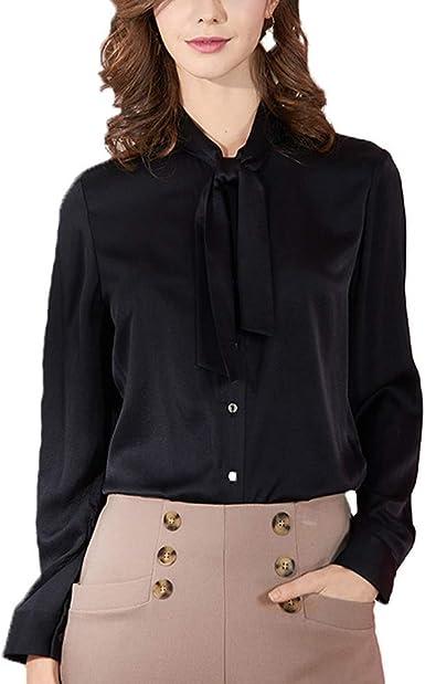 DISSA S6807 - Blusa de seda para mujer, cuello alto, manga ...
