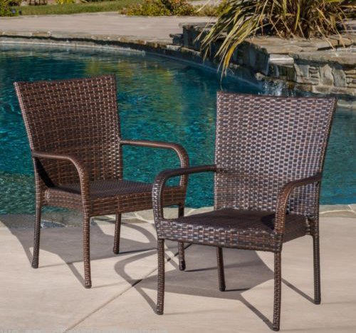 NEW Set of 2 Outdoor Patio Furniture Brown Wicker Stackable Dining Chairs