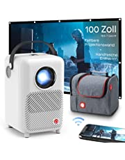 WiFi Projector Pixthink Native 1080P, Home Theater Projector, Mini Projector with Projection Screen and Bag, 200-inch Display Portable Projector, Compatible with iPhone/Android/TV Stick/HDMI/USB