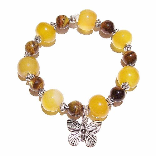 Silver Tone Tigers Eye - Dragon Vein Agate, Tiger's Eye & Tibetan Silver-Tone Stretch Bracelet 19cm