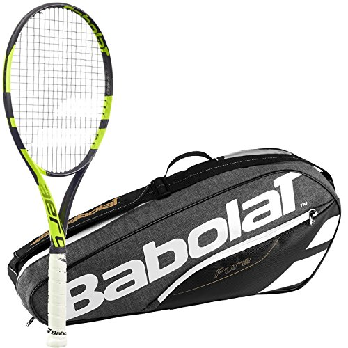 Babolat Pure Aero Team Yellow/Black Adult Tennis Racquet (Grip Size 4 3/8) with a Grey/Black Pure Line Racket Holder x3