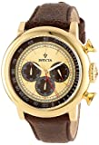 Invicta Men's 13058 Vintage Gold-Tone Stainless Steel Watch with Distressed Leather Band
