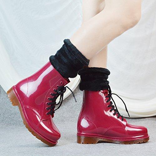 LvRao Señoras Botas Tobillo Alto Impermeable Invierno Nieve Lluvia Calentar Zapatos de Cordones Caucho Mujeres Botines de Goma Vino Rojo con Calcetines