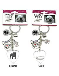 Frogsac Stainless Steel Engraved Dog Key Chains with Charms