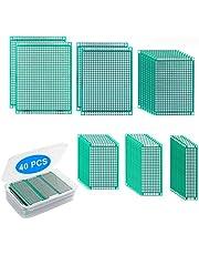 Yizhet Dubbelsidig PCB-kort prototypsats, 6 storlekar kretskort universal prototypkort för Arduino gör-det-själv lödning och elektroniskt projekt (40 st)