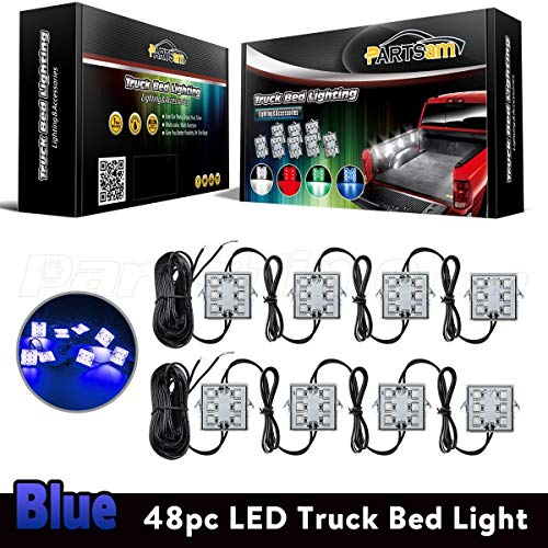 Partsam Truck Box Light 48 5050 Smd Blue Led Pickup Truck Bed Light Cargo Area Tail Light Fit All 12v Vehicles For Dodge Ram 1500 3500 Gmc