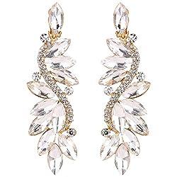 Crystal Flower Chandelier Clip-On Dangle Earrings