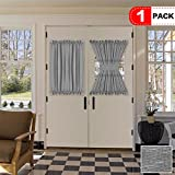 40 inch long door curtain panels - H.VERSAILTEX Grey Curtains for French Door, Linen Poly Blended Curtain Panels - Light Filtering Solid Rod Pocket Semi Sheer for Glass Door - 52