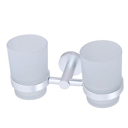Espacio cepillo de dientes titular de aluminio/vaso/dos portavasos
