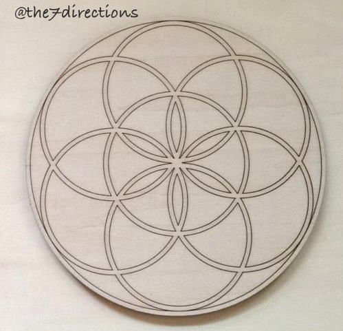 (Seed of Life Engraved Wood Sacred Geometry 5