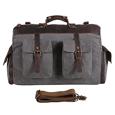 Polare Genuine Leather Canvas Travel Bag / Weekend Bag / Duffel Bag/Gym Bag (Grey)