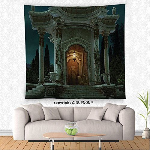 VROSELV custom tapestry Gothic House Decor Tapestry Wall Hanging Roman Pavilion Lantern Ivy on Pillars under Dome Medieval Architecture Mystic Theme Bedroom Living Room Dorm Decor Dark (Cowboy Dome Lunch Box)