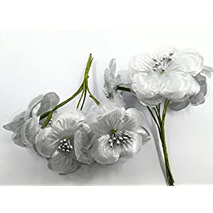 dwa56rg 30PCS Dahlia Handmake Silk Artificial Flowers Head for Wedding Party Corsage Decoration DIY Scrapbooking Craft Fake Flowers (Silver) 105