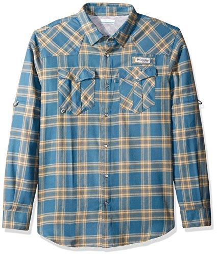 Columbia Men's Beadhead Flannel Long Sleeve, Blue Heron Plai