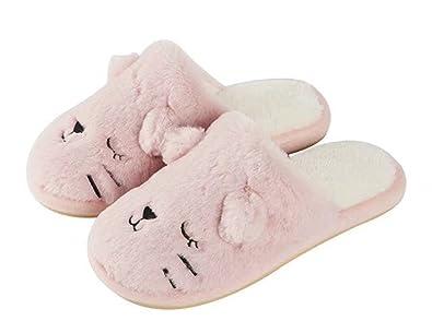 Women Animal Cat Slippers Winter Cozy House Slippers Fuzzy Warm Slip-on  Fleece Indoor Bedroom 29c2d0597
