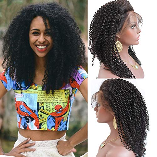 Price comparison product image YOUDO Pre Plucked KinkyCurly Wig Brazilian Virgin Human Hair For Black Women 180% Density Full Lace Wigs With Baby Hair(22Inch)