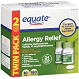 Equate Allergy Relief Cetirizine Hydrochloride Tablets 10 mg/Antihistamine, 90 Tablets (Twin Pack)