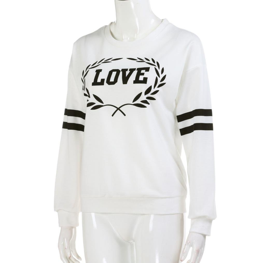 WARMSHOP Long Sleeve Sport Casual Sweatshirt with LOVE Letter Print T-shirt