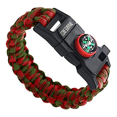 Paracord Survival Bracelet - Hiking Multi Tool, Paracord Bracelet, Emergency Whistle, Compass for Hiking, Camp Fire Starter