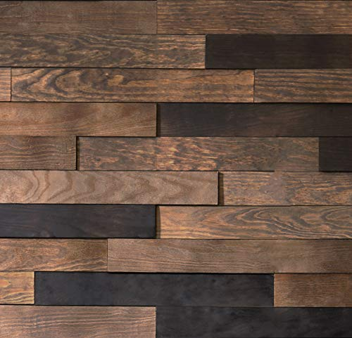 Timberwall - Landscape Collection - Black Rock Desert - Wood Wall Panel - Solid Wood Planks - Easy Peel and Stick Application - 9.8 Sq Ft