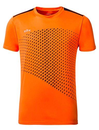 ZITY Men's Tech Short Sleeve T-Shirt Athlete Short Sleeve Tees Orange (Tech Goalkeeper Jersey)