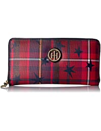 Wallet, Large Zip Wallets for Women, Stair Plaid Wallet